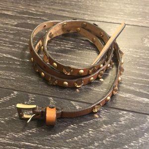 Sz M JCrew leather jeweled belt